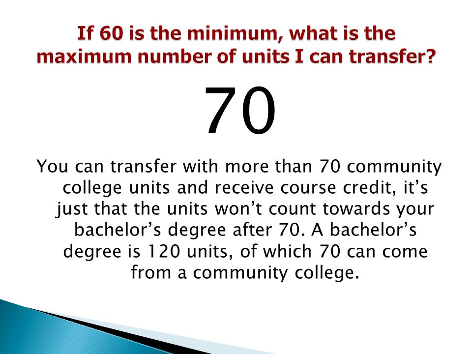 If 60 is the minimum, what is the maximum number of units I can transfer