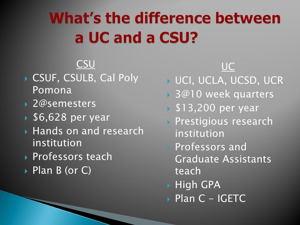 What's the difference between a UC and a CSU