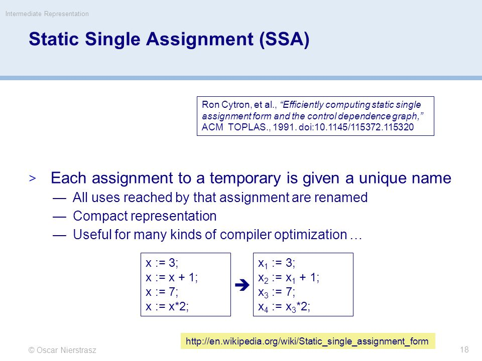 Static Single Assignment (SSA)