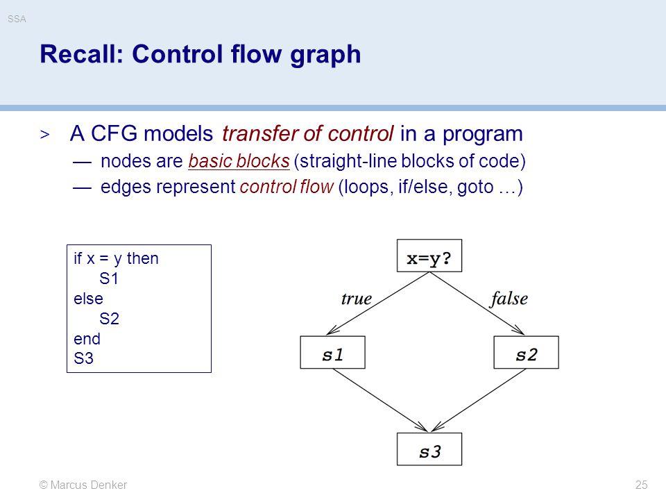 Recall: Control flow graph