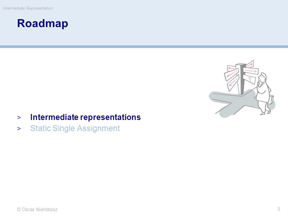 Roadmap Intermediate representations Static Single Assignment