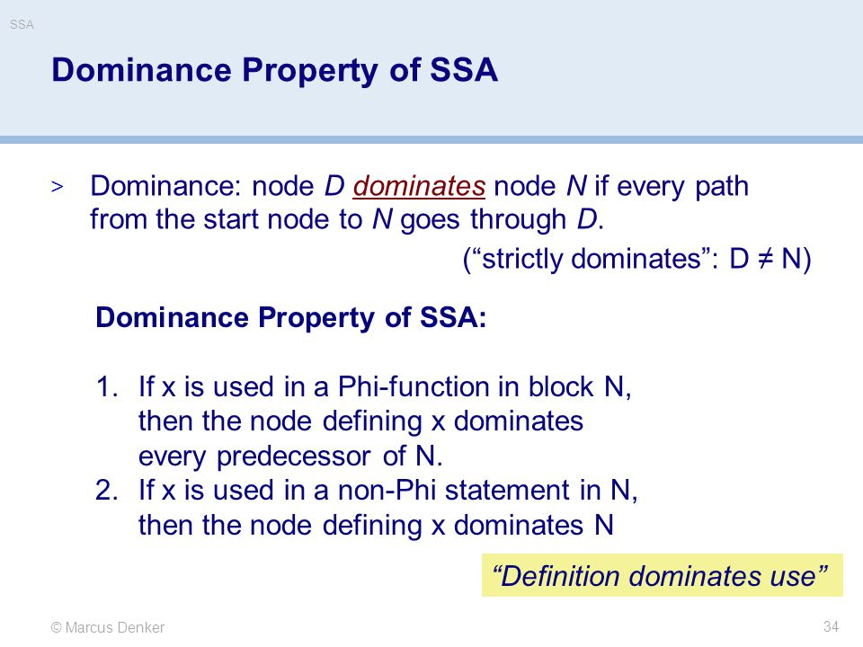 Dominance Property of SSA