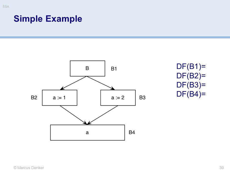 SSA Simple Example DF(B1)= DF(B2)= DF(B3)= DF(B4)= © Marcus Denker
