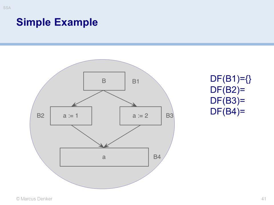SSA Simple Example DF(B1)={} DF(B2)= DF(B3)= DF(B4)= © Marcus Denker