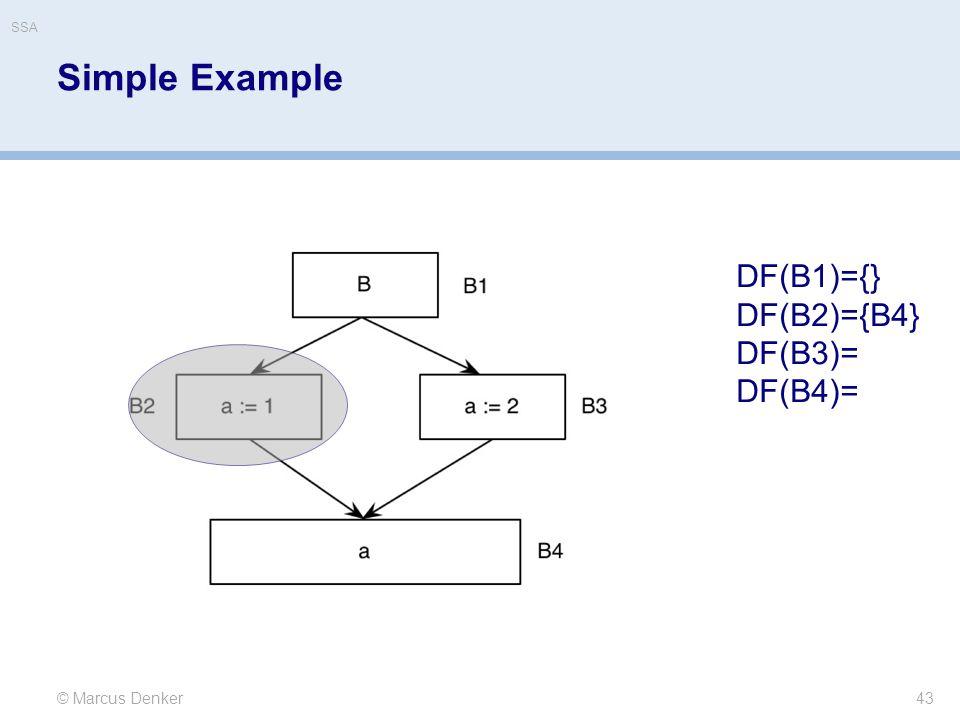 Simple Example DF(B1)={} DF(B2)={B4} DF(B3)= DF(B4)= © Marcus Denker