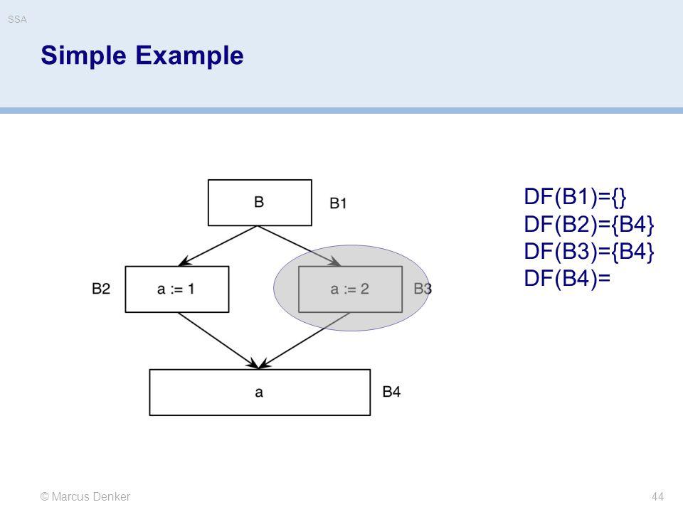 Simple Example DF(B1)={} DF(B2)={B4} DF(B3)={B4} DF(B4)=