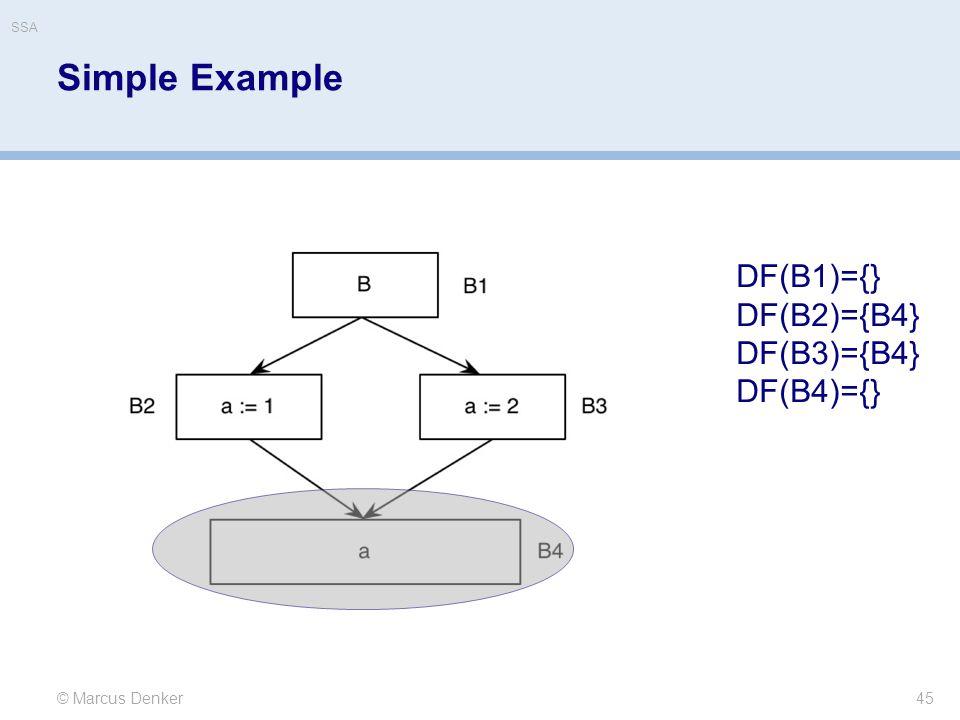 Simple Example DF(B1)={} DF(B2)={B4} DF(B3)={B4} DF(B4)={}