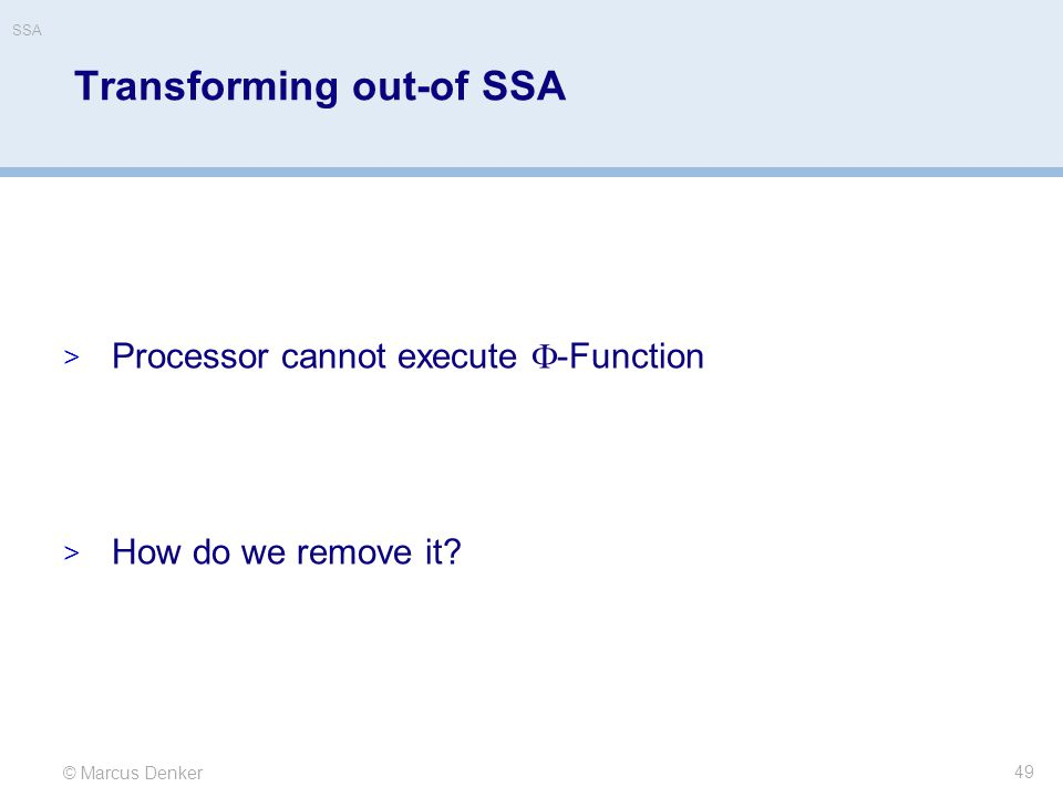 Transforming out-of SSA