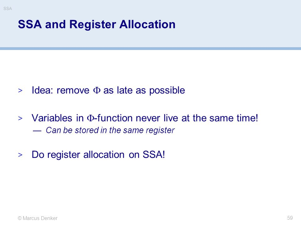 SSA and Register Allocation