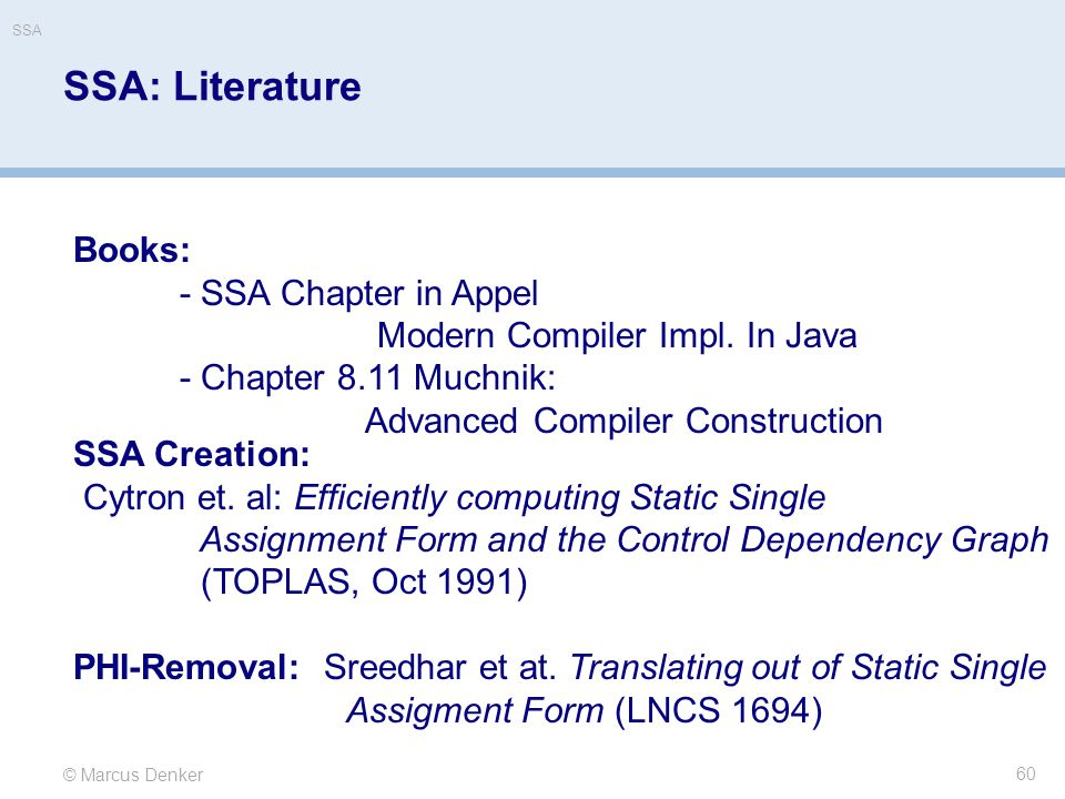 SSA: Literature Books: - SSA Chapter in Appel