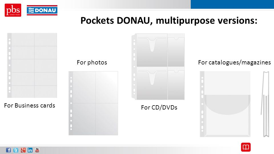 Pockets DONAU, multipurpose versions: