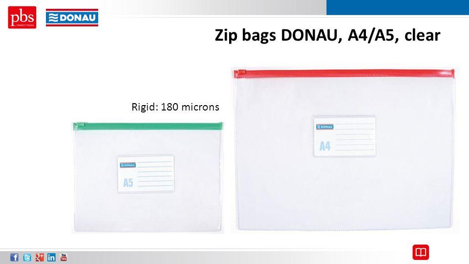 Zip bags DONAU, A4/A5, clear