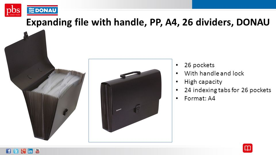 Expanding file with handle, PP, A4, 26 dividers, DONAU