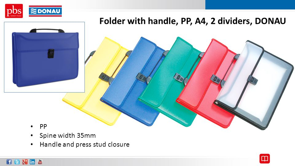 Folder with handle, PP, A4, 2 dividers, DONAU