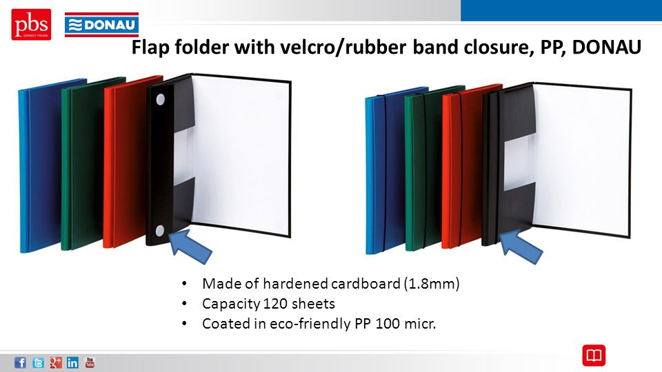 Flap folder with velcro/rubber band closure, PP, DONAU