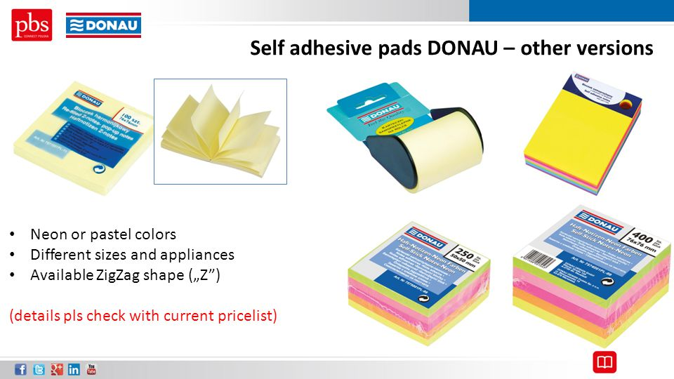 Self adhesive pads DONAU – other versions