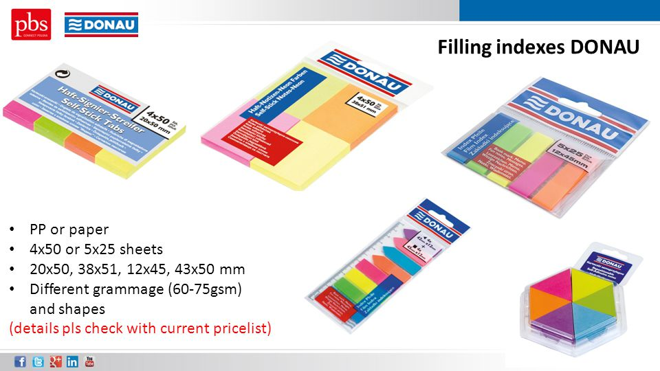 Filling indexes DONAU PP or paper 4x50 or 5x25 sheets