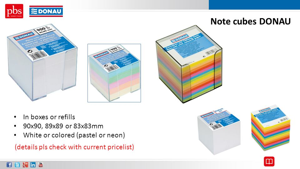 Note cubes DONAU In boxes or refills 90x90, 89x89 or 83x83mm