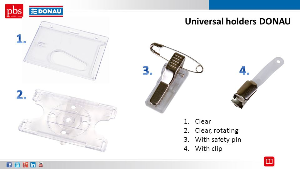 1. 3. 4. 2. Universal holders DONAU Clear Clear, rotating