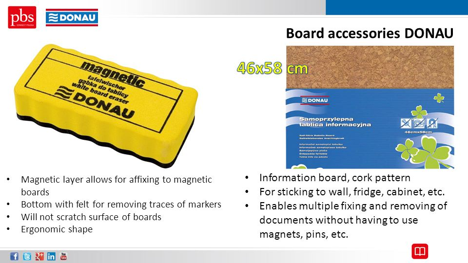 46x58 cm Board accessories DONAU Information board, cork pattern