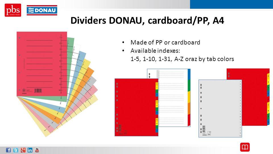 Dividers DONAU, cardboard/PP, A4