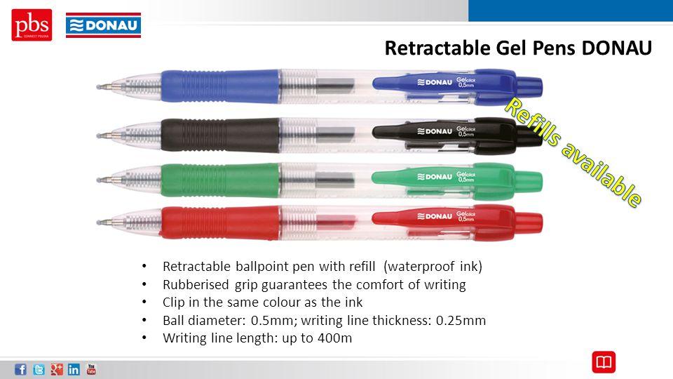 Refills available Retractable Gel Pens DONAU
