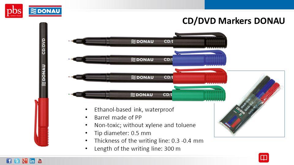CD/DVD Markers DONAU Ethanol-based ink, waterproof Barrel made of PP