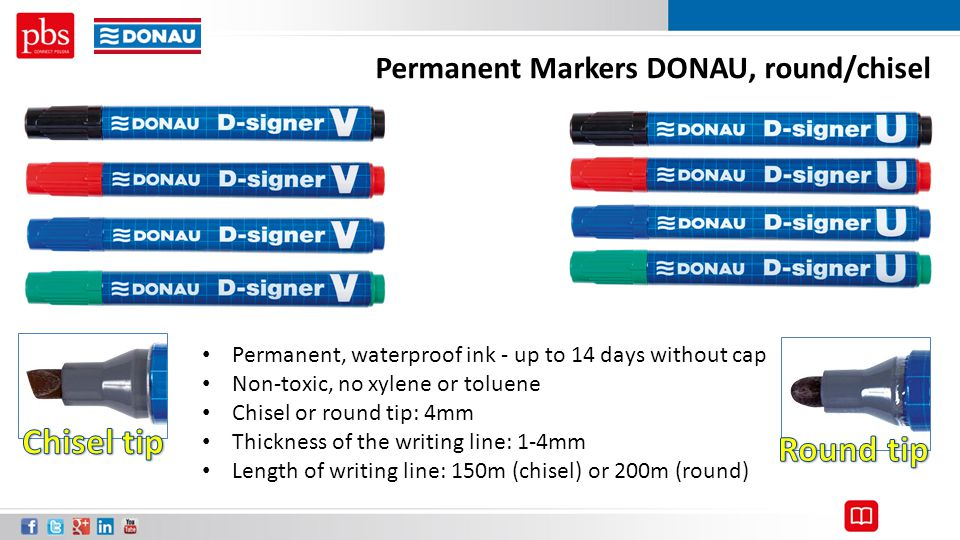 Chisel tip Round tip Permanent Markers DONAU, round/chisel
