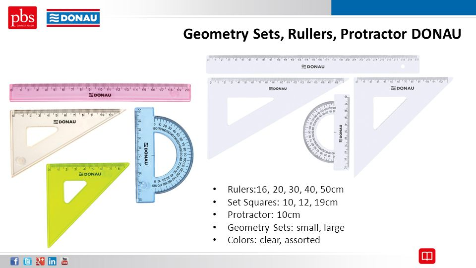 Geometry Sets, Rullers, Protractor DONAU