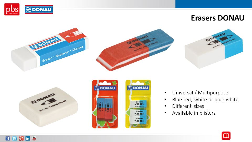 Erasers DONAU Universal / Multipurpose Blue-red, white or blue-white