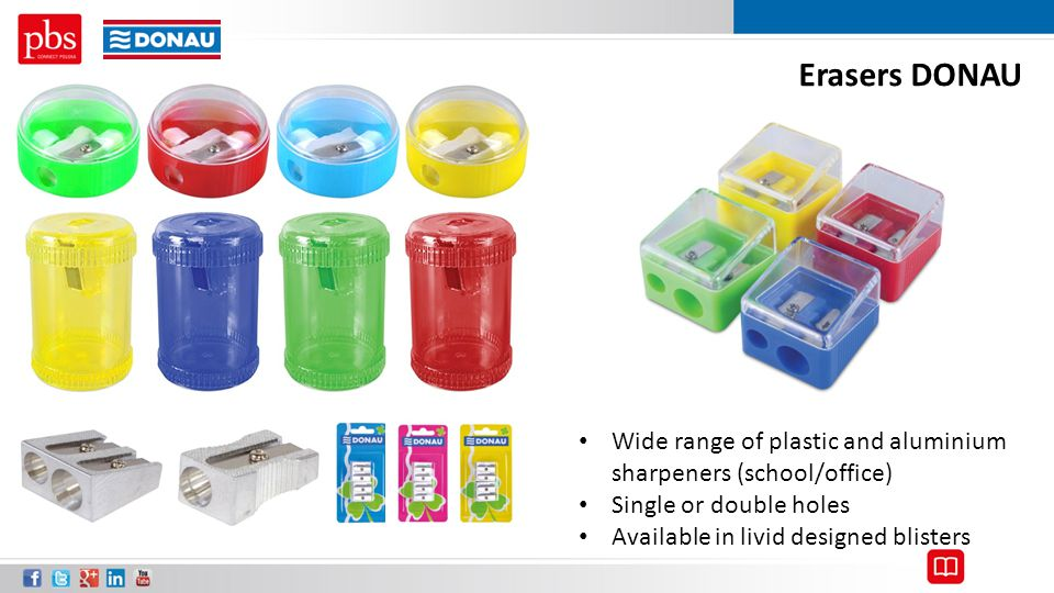 Erasers DONAU Wide range of plastic and aluminium sharpeners (school/office) Single or double holes.