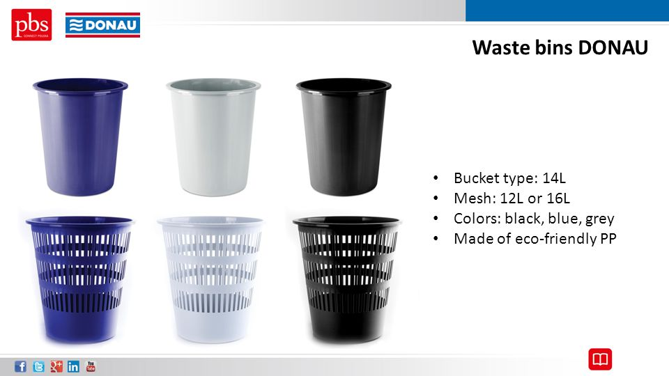 Waste bins DONAU Bucket type: 14L Mesh: 12L or 16L