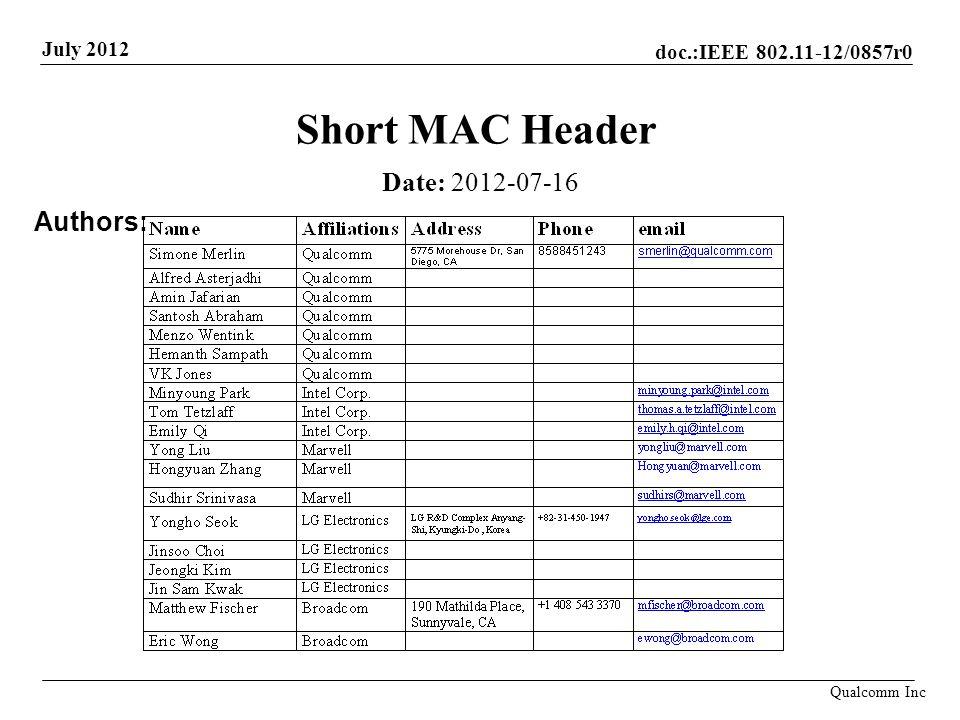 Short MAC Header Date: 2012-07-16 Authors: John Doe, Some Company