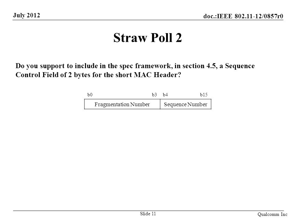 Straw Poll 2 Do you support to include in the spec framework, in section 4.5, a Sequence Control Field of 2 bytes for the short MAC Header