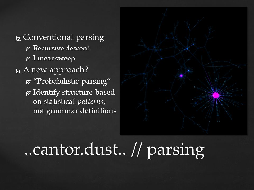 ..cantor.dust.. // parsing Conventional parsing A new approach