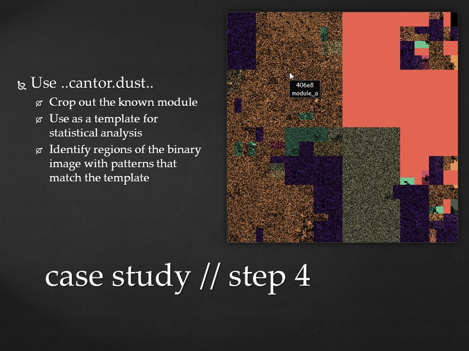 case study // step 4 Use ..cantor.dust.. Crop out the known module