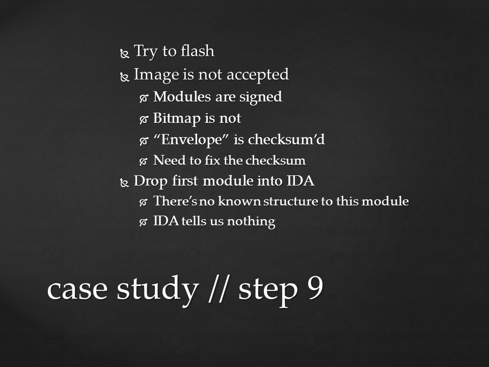 case study // step 9 Try to flash Image is not accepted