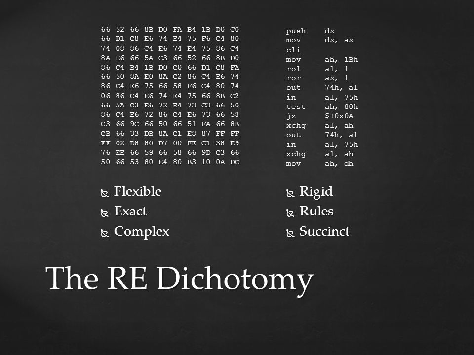The RE Dichotomy Flexible Exact Complex Rigid Rules Succinct