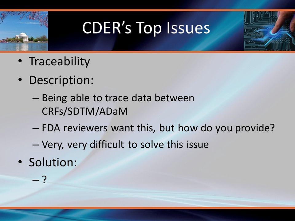 CDER's Top Issues Traceability Description: Solution: