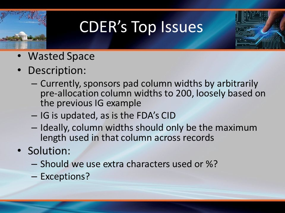 CDER's Top Issues Wasted Space Description: Solution: