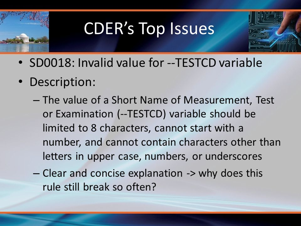CDER's Top Issues SD0018: Invalid value for --TESTCD variable