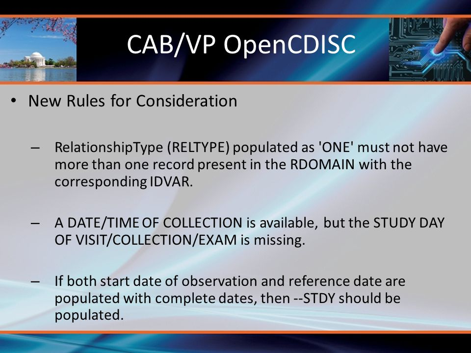 CAB/VP OpenCDISC New Rules for Consideration