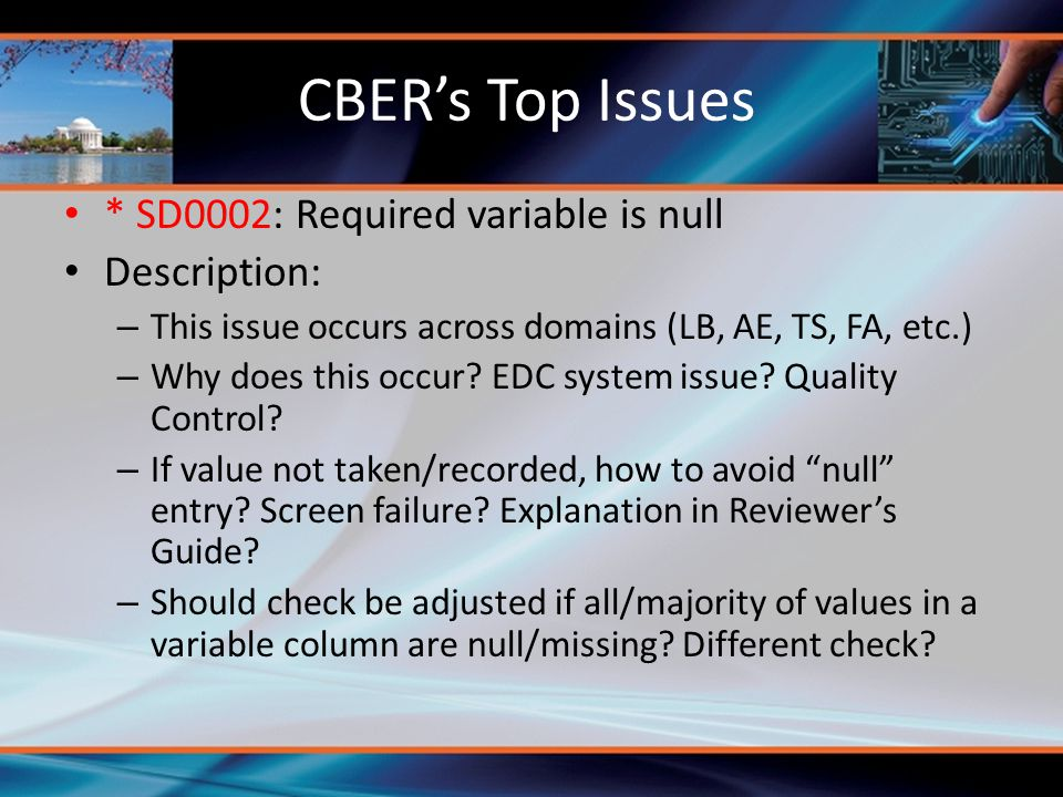 CBER's Top Issues * SD0002: Required variable is null Description: