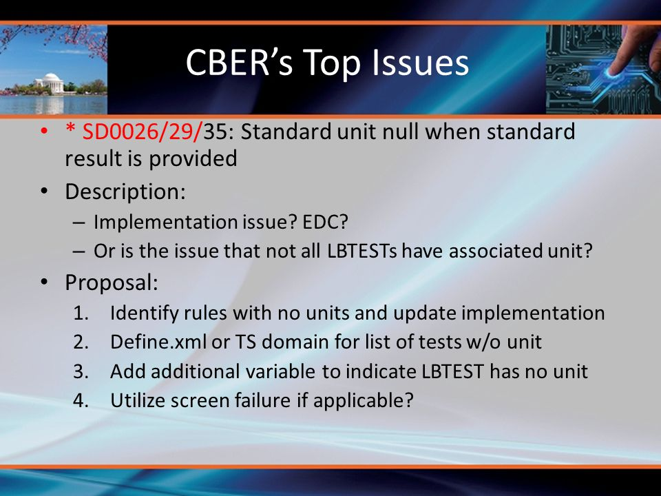 CBER's Top Issues * SD0026/29/35: Standard unit null when standard result is provided. Description: