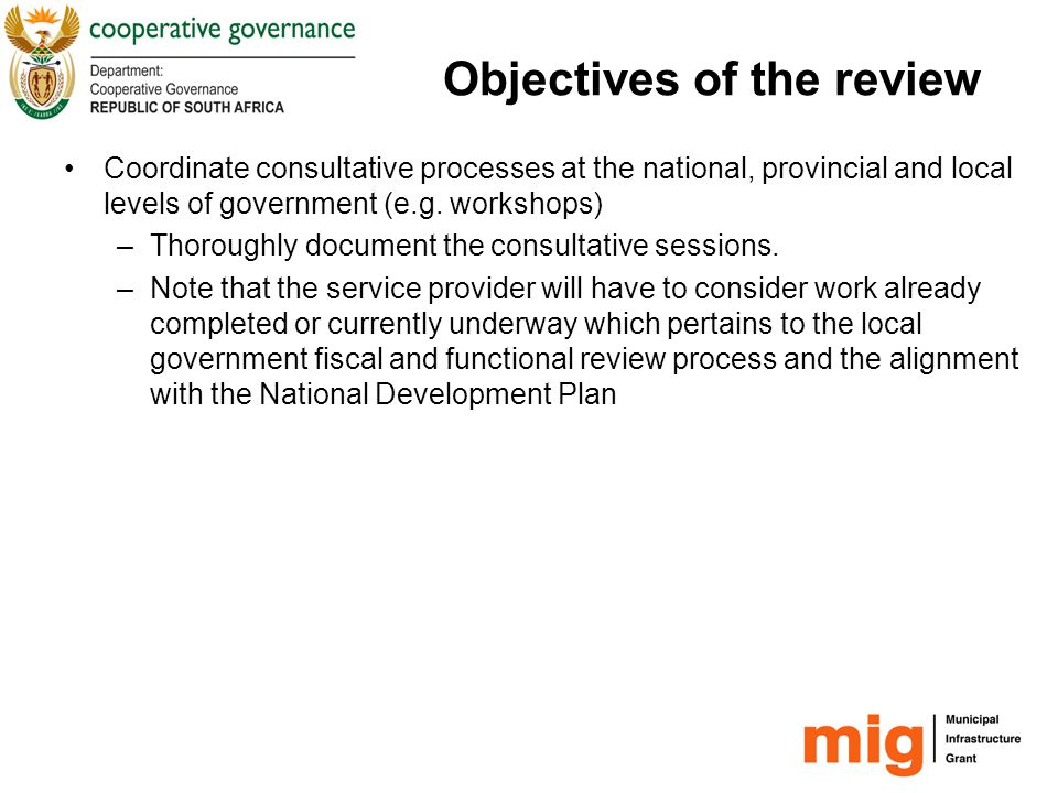 Objectives of the review