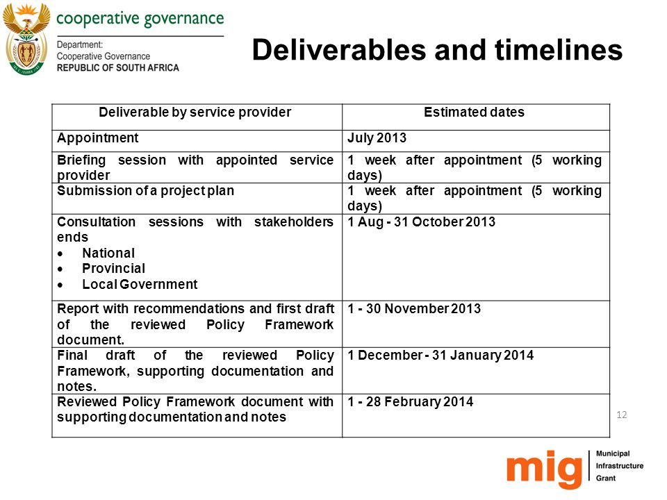 Deliverables and timelines