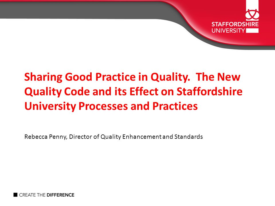 Sharing Good Practice in Quality