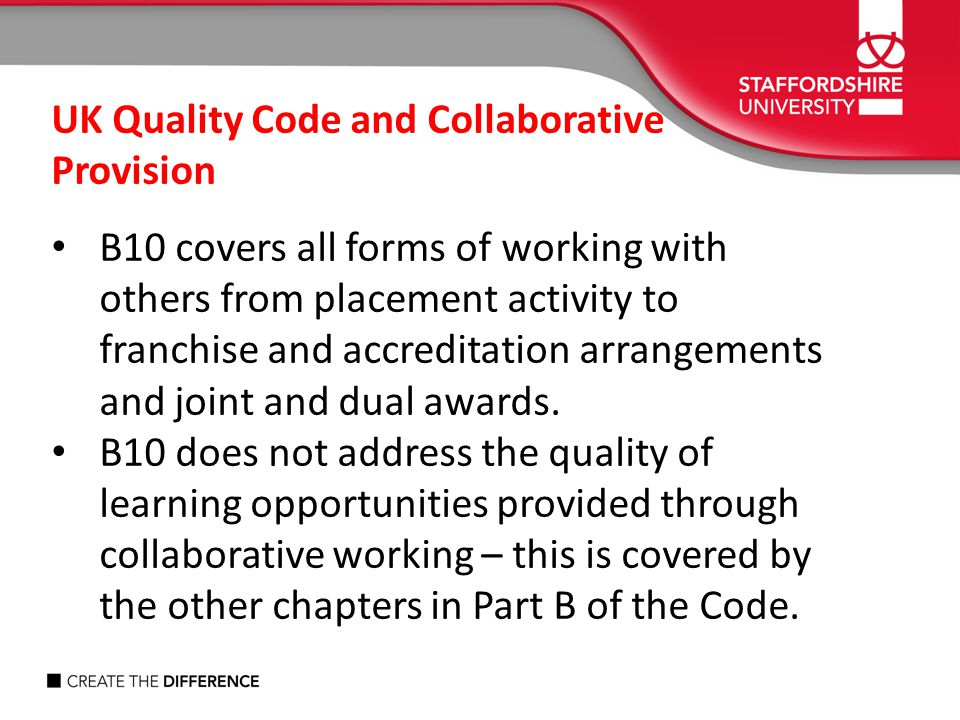 UK Quality Code and Collaborative Provision