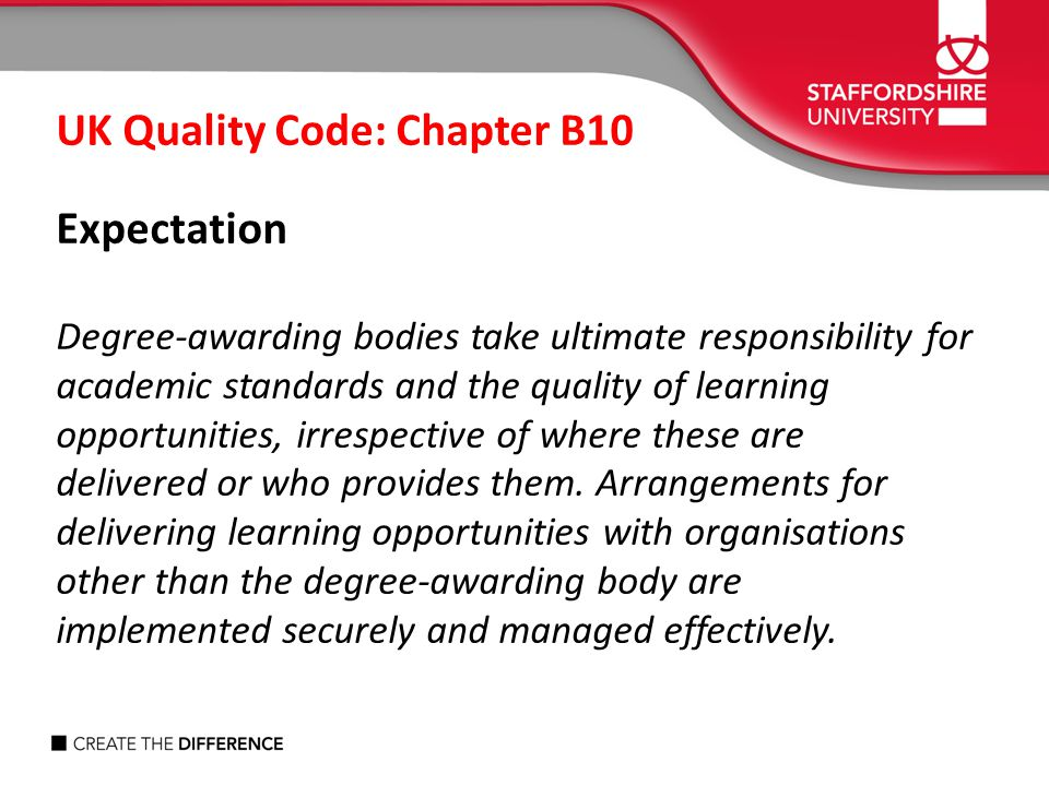 UK Quality Code: Chapter B10 Expectation