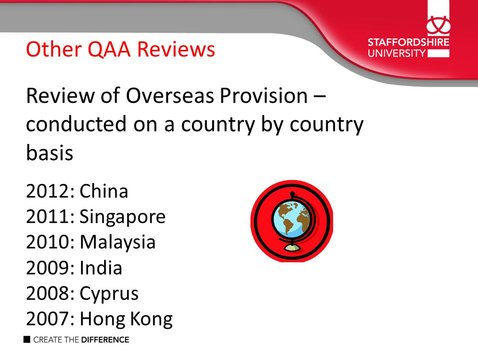 Review of Overseas Provision – conducted on a country by country basis